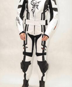 Kombinezon skórzany damski dwuczęściowy Tschul 187 white black