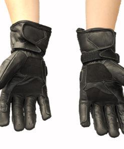 Rękawice skórzane motocyklowe Tschul model 212 kolor czarny