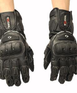 Rękawice skórzane motocyklowe Tschul model 280 kolor czarny