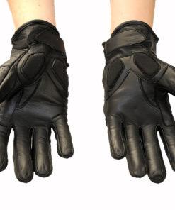 Rękawice skórzane motocyklowe Tschul model 306 kolor czarne krótkie