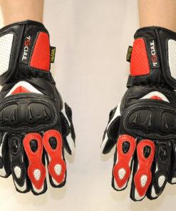 Rękawice skórzane motocyklowe Tschul model 310 czarno czerwono białe
