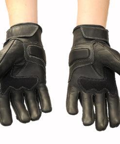 Rękawice skórzane motocyklowe Tschul model 316 kolor czarne krótkie