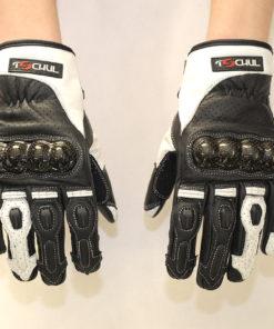 Rękawice skórzane motocyklowe Tschul model 312 czarno białe krótkie