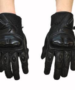 Rękawice tekstylno skórzane z MESH Rebelhorn model GAP kolor czarne