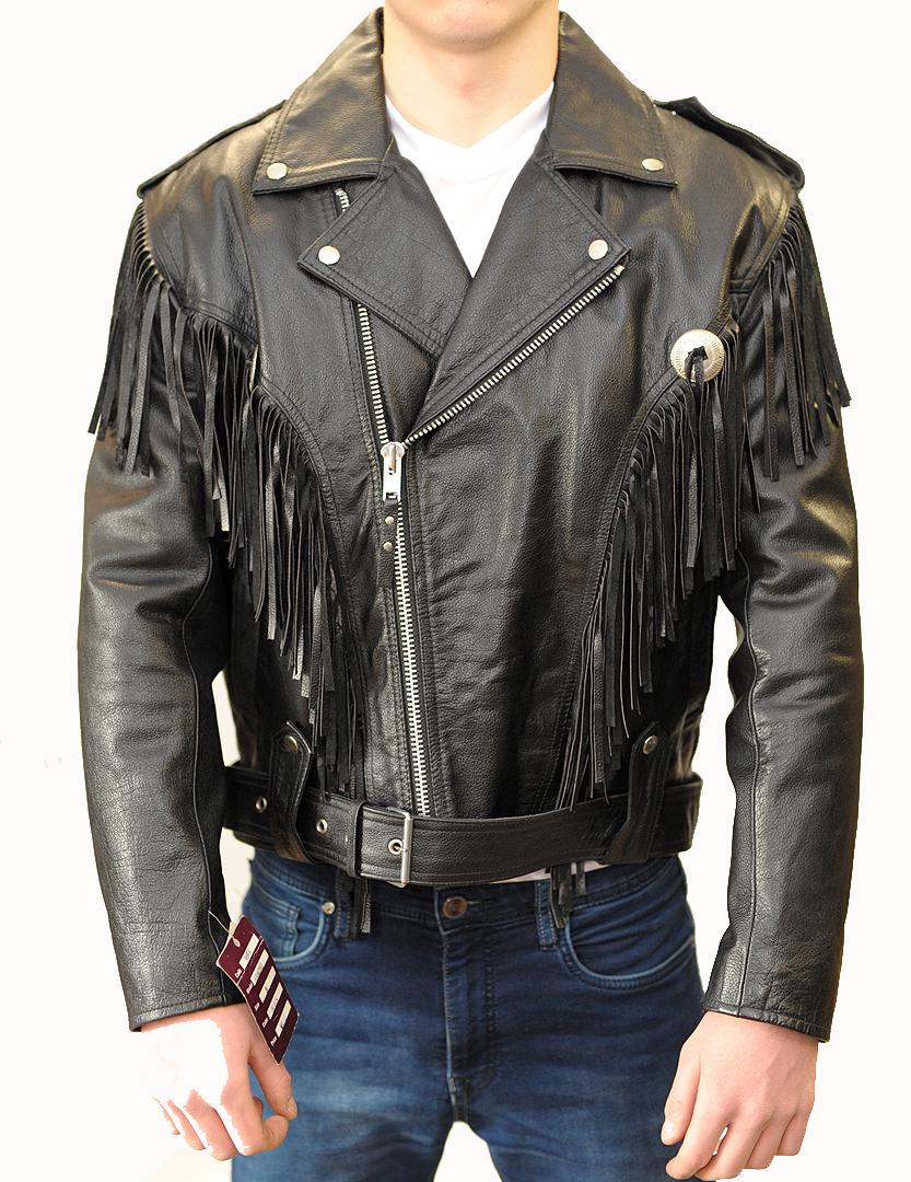 a2967cbfc84bc Kurtka skórzana męska Ramoneska z frędzlami - Sklep motocyklowy ...
