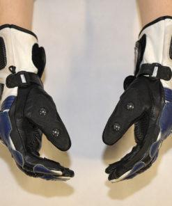 Rękawice skórzane motocyklowe Prospeed model 40064 kolor czarno niebiesko białe