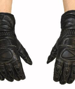 Rękawice skórzane motocyklowe Prospeed model 40084 z HIPORA kolor czarne