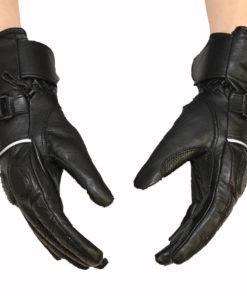 Rękawice skórzane motocyklowe Prospeed model 40086 z HIPORA kolor czarne