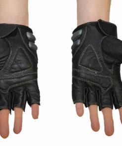 Rękawice skórzane motocyklowe Tschul bez palców kolor czarne