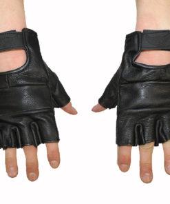 Rękawice skórzane motocyklowe bez palców kolor czarne