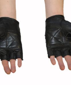 Rękawice skórzane motocyklowe bez palców z ćwiekami kolor czarne