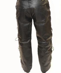 Spodnie skórzane wiązane 30007 czarne oczka